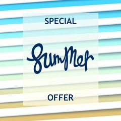 Special Summer offer. Creative design with lettering and stylized sunblind. Vector illustration