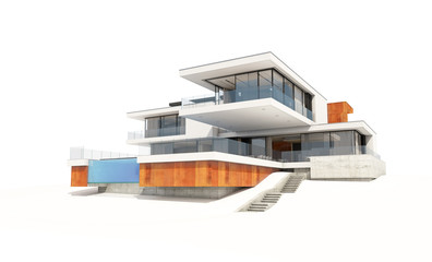 3d rendering of modern house isolated on white.