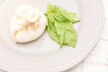 burrata cheese with basil