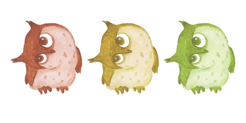 Watercolor owles