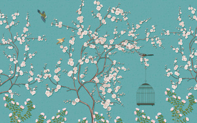 Chinese paintings of plum blossoms and birds Blue background picture