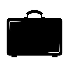 Simple, flat, black suitcase illustration. Silhouette icon. Isolated on white