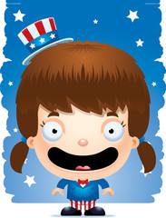 Smiling Cartoon Patriotic Girl