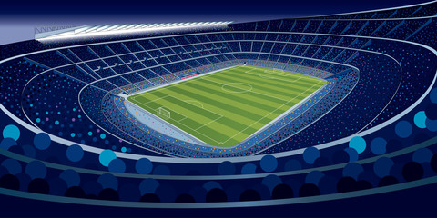 Drawing of a stadium full of people at night in blue tones with wide angle view in large format. Vector illustration