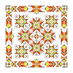 Vector abstract tribal illustration; Sacred geometry; Contemporary ornamental composition based on ancient embroidery of northern nations; White background and geometric shape.