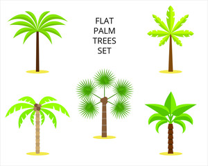 Set of palm trees / tropical plants on white background for site header, footer, web banner, flyer or postcard, modern flat design conceptual style. Vector illustration.
