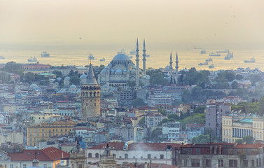 Galata Tower and Suleymaniye Mosque at sunset