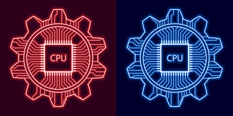 Glowing gear with CPU icon