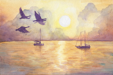 Abstract landscape with a yacht and flying birds. View of sea, sun, cloudy sky at sunset. Watercolor hand drawn painting illustration.