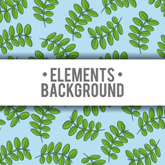 Elements background with leaves icon, colorful design. vector illustration