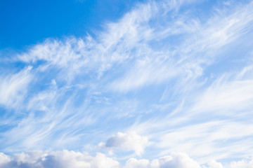 Cumulus and air white clouds. Cloudy blue sky abstract background.