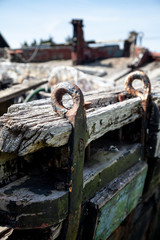 Rotting Wooden Detail of an old cargo barge