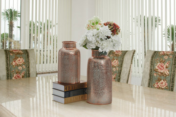decorative vases and flowers