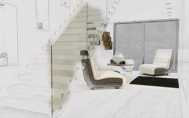 3D sketch of a modern room interior
