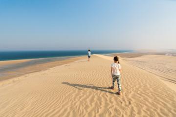 Kids having fun at desert
