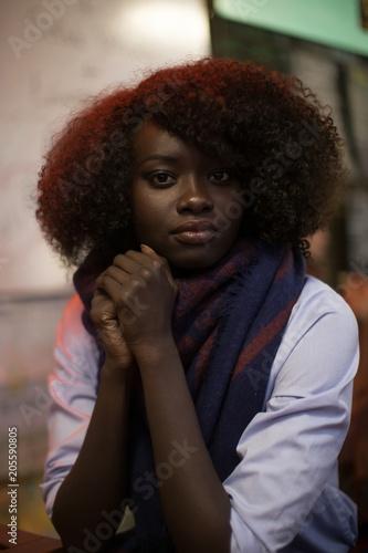 Woman Black Dark Dark Skin Portrait Natural Hair Sitting