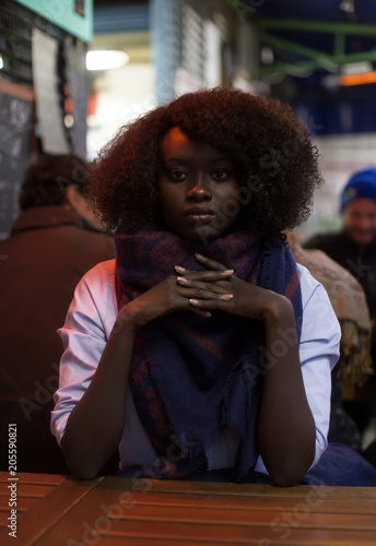 Woman Black Dark Dark Skin Portrait Natural Hair