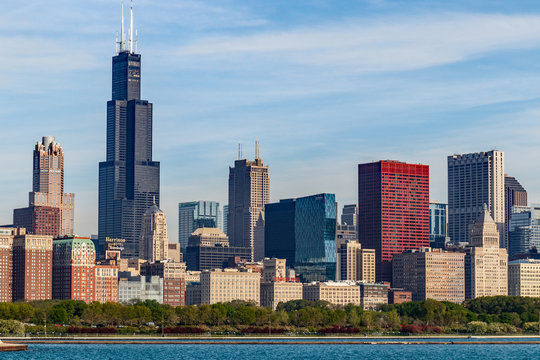 Windy City downtown skyline from Lake Michigan on a sunny day. Chicago is home to the Cubs, Bears, Blackhawks and deep dish pizza II