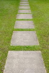 brick walk path in public park
