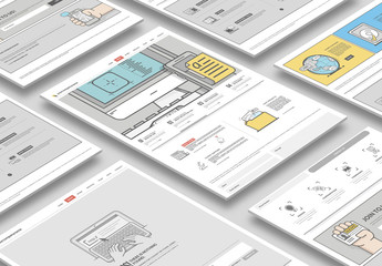 Flat Website Prototype Layout Kit