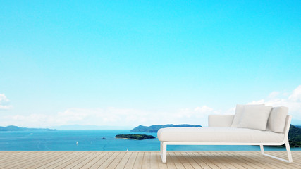 Daybed on terrace with sea view in hotel or condominium - Living area on island view and sea view - Simple design artwork for vacation time - 3D Rendering