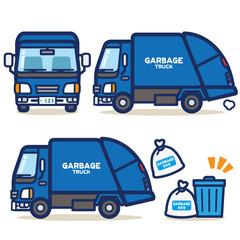 はたらく乗り物 ゴミ収集車(青系)