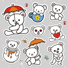 Hand draw vector collection sticker of bear