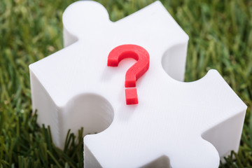 Red Question Mark Sign On Jigsaw Puzzle