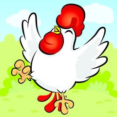 Chicken Happy, Cute Vector, Cute Cartoon