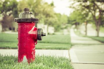 neighborhood red fire hydrant vintage look