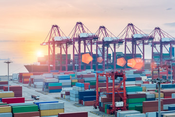 container terminal closeup in sunset