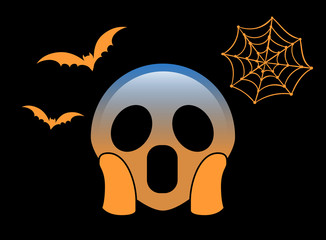 Orange scary and spooky face flat icon with flying bat and spider net