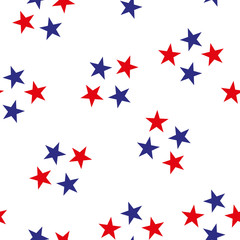 Patriotic red, white, blue geometric seamless pattern. Vector illustration with American symbol. USA flag wallpaper. Happy Independence Day 4th of July.