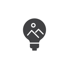 Landscape picture inside light bulb vector icon. filled flat sign for mobile concept and web design. Creativity, Idea simple solid icon. Symbol, logo illustration. Pixel perfect vector graphics
