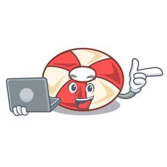 With laptop swim tube character cartoon