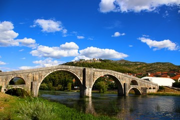 A arched bridge in bosnia and herzegovina which is built entirely of stone