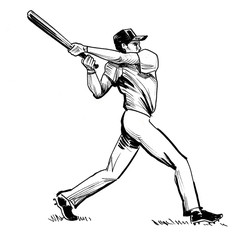 Retro baseball player with a bat