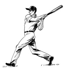 Ink black and white illustration of a baseball player