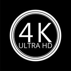 Ultra HD 4K icon on dark background