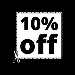 Coupon design, sale icon 10% on dark background