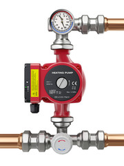 Heating water pump with manometer, thermometer and valve