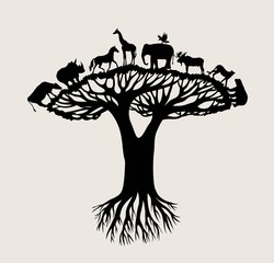 Tree Animal Silhouette, art vector design