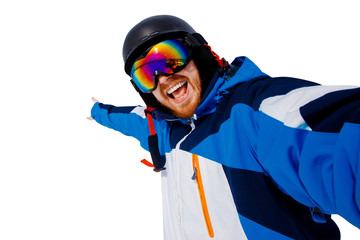 Selfie Guy sportsman goes on normal skiing on ski slope with action camera isolated