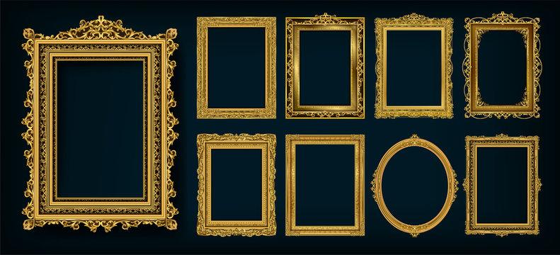 Set of invitation golden and green royal frame photo design