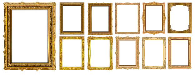 Set of Decorative vintage frames and borders set,Gold photo frame with corner Thailand line floral for picture,