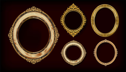 Set of Decorative vintage frames and borders set,Gold photo frame with corner Thailand line floral for picture,