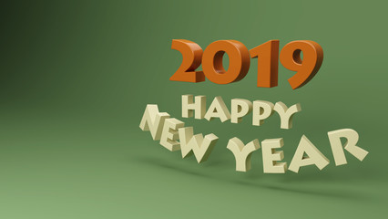 Happy New Year 2019 - 3D Rendered Image