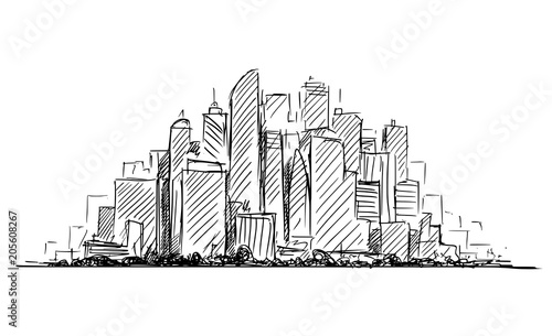 Vector artistic sketchy pen and ink drawing illustration or