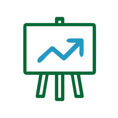 Graph increase on board. Chart up simple isolated illustration.