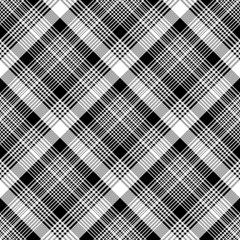 Tartan plaid black white fabric texture seamless pattern